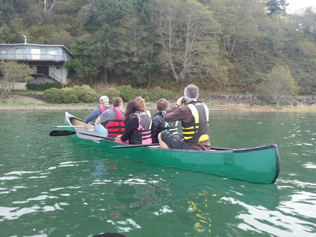 Parents on a canoe trip in the Salmon River estuary - otters were spotted!