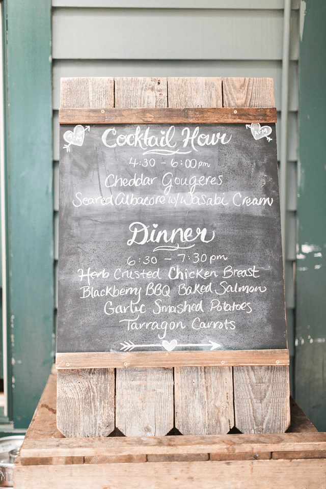 Menu for wedding at Westwind