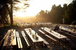 Outdoor dining in front of Wilson Lodge at Westwind