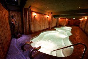 Crystal Hotel soaking pool. Bamboo detail by Bamboo Craftsman.