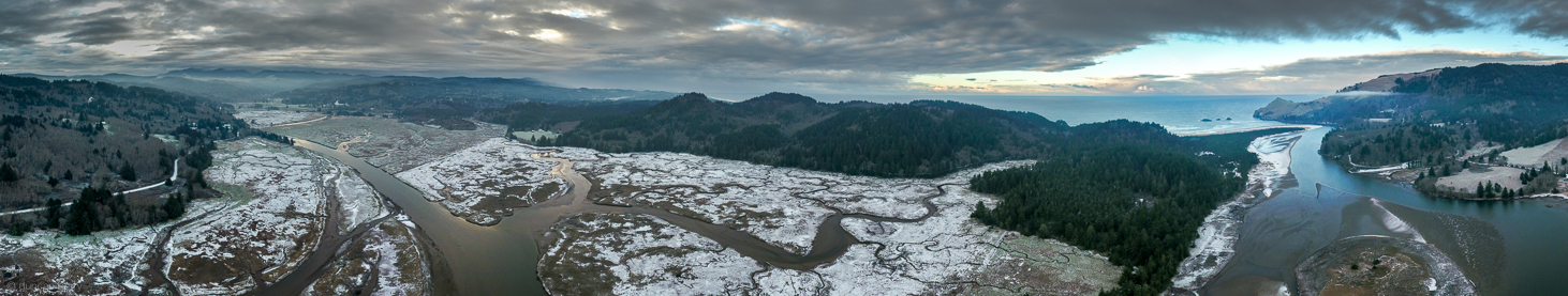 Fish-eye aerial of Westwind and horizon in winter
