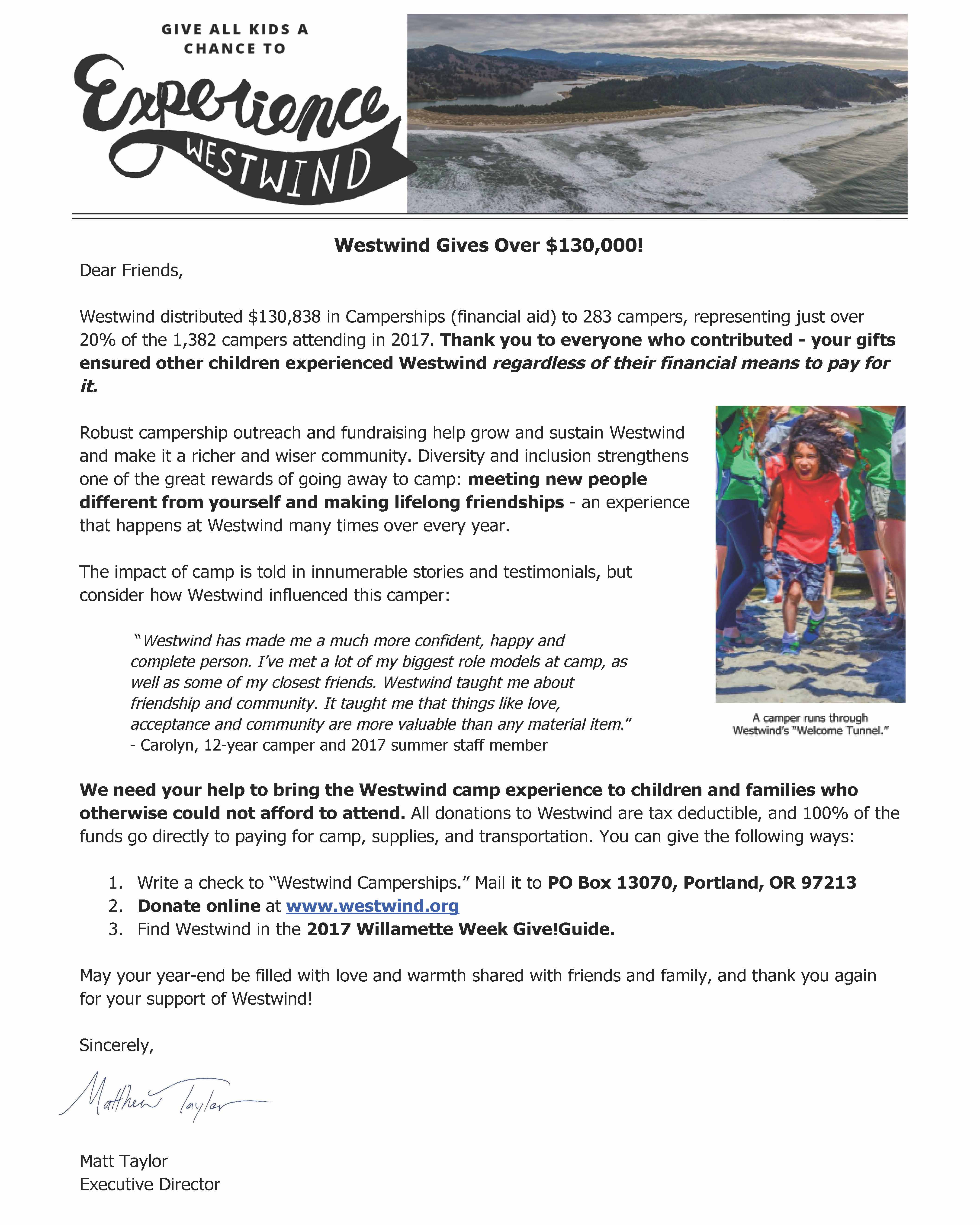 2017 Westwind End of Year Appeal Letter   Westwind